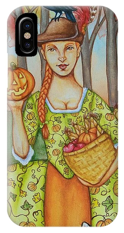 Autumn IPhone X Case featuring the painting Autumn Colonial by Beth Clark-McDonal