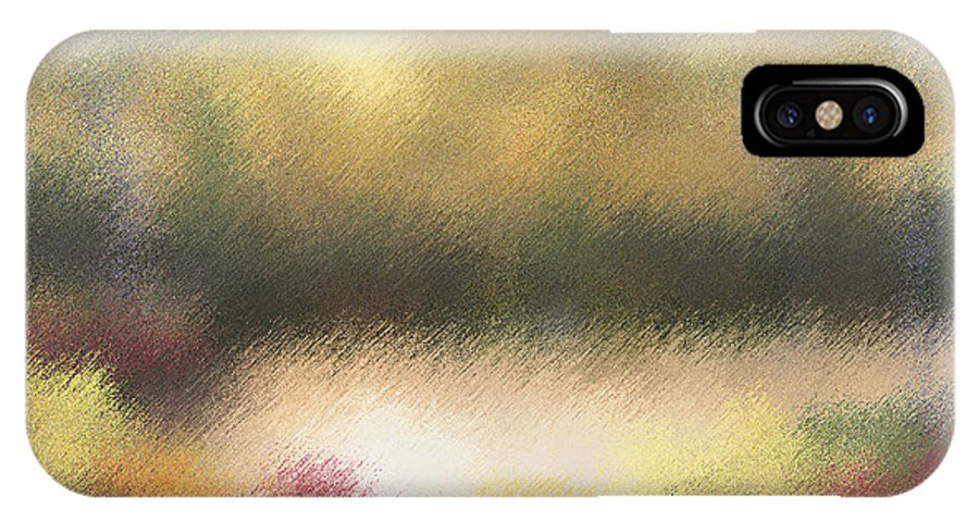 Abstract IPhone X Case featuring the painting Autumn Colors - Abstract by Diane Romanello