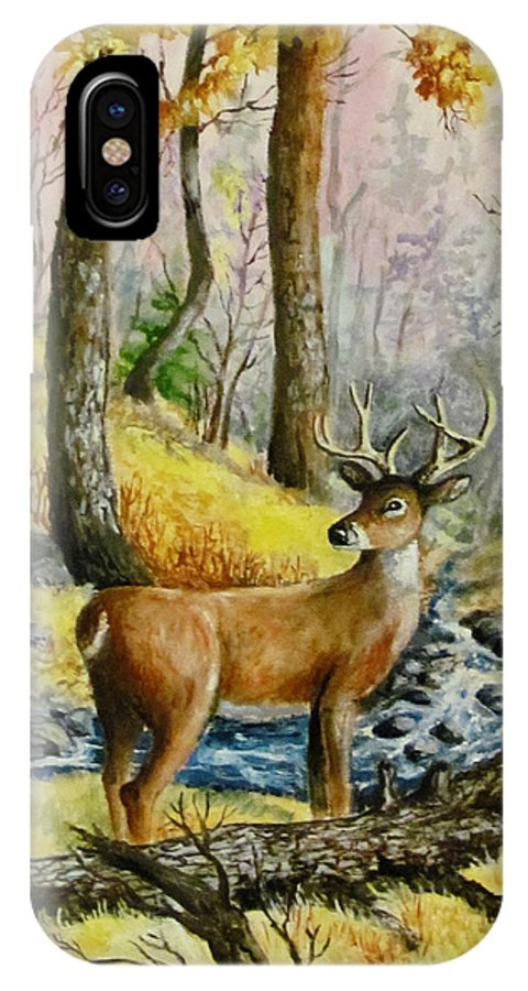 Animal Poster IPhone X Case featuring the painting Autumn Crossing by Philip Lee