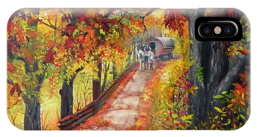 Scenery IPhone X / XS Case featuring the painting Autumn Dreams by Lora Duguay