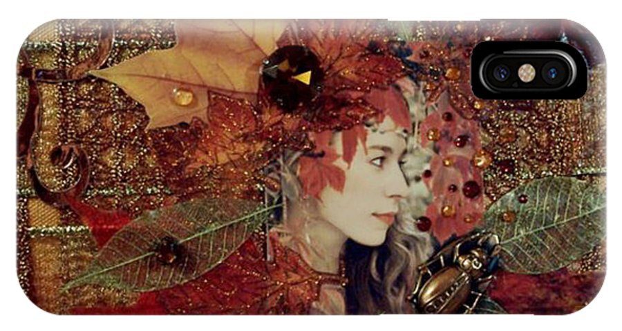 Auttumn IPhone X Case featuring the digital art Autumn Dryad Collage by Maureen Tillman