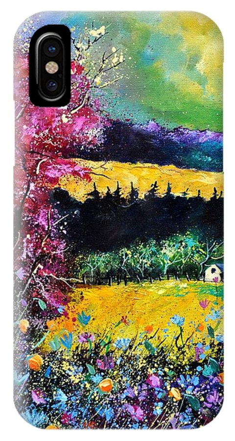 Landscape IPhone X Case featuring the painting Autumn Flowers by Pol Ledent