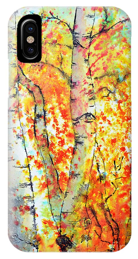 Aspen IPhone X Case featuring the painting Autumn Forest by Dion Dior
