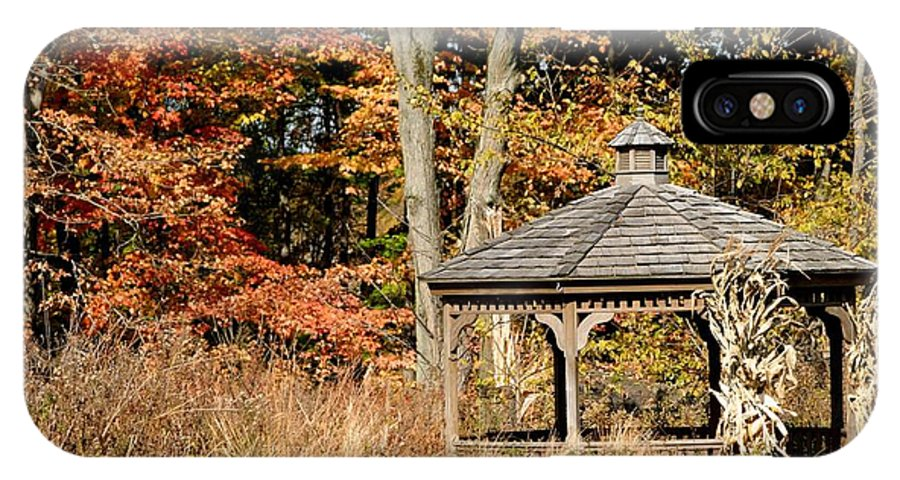 Autumn IPhone X Case featuring the photograph Autumn Gazebo by Living Color Photography Lorraine Lynch