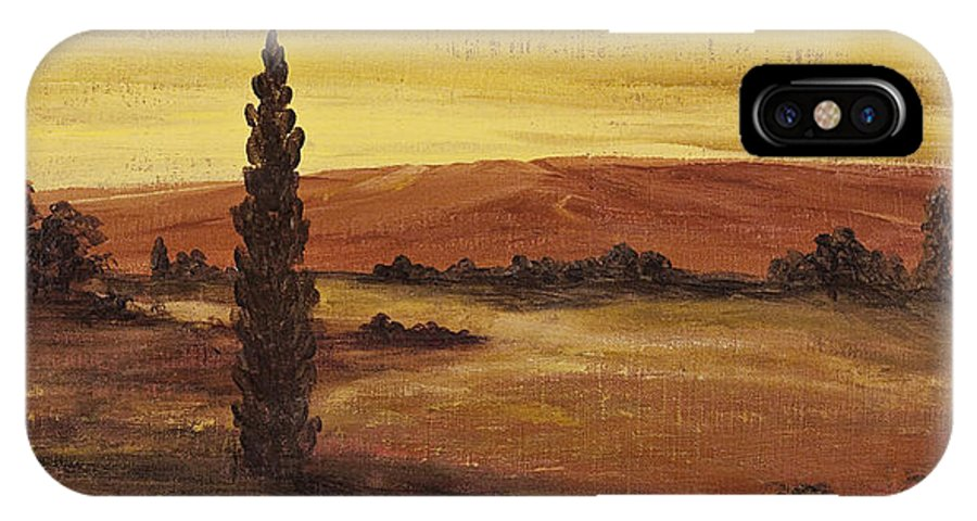 Landscape IPhone X / XS Case featuring the painting Autumn Glow by Darice Machel McGuire