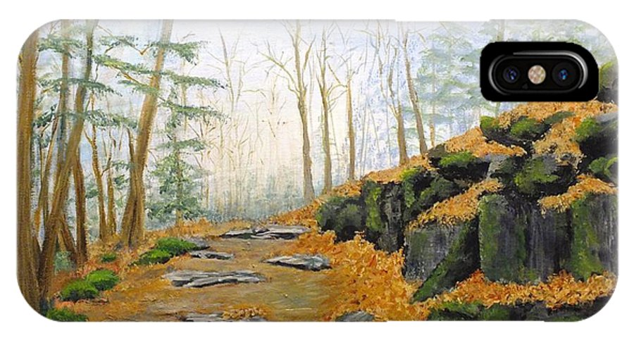 Nature IPhone X Case featuring the painting Autumn Hike by Peggy King