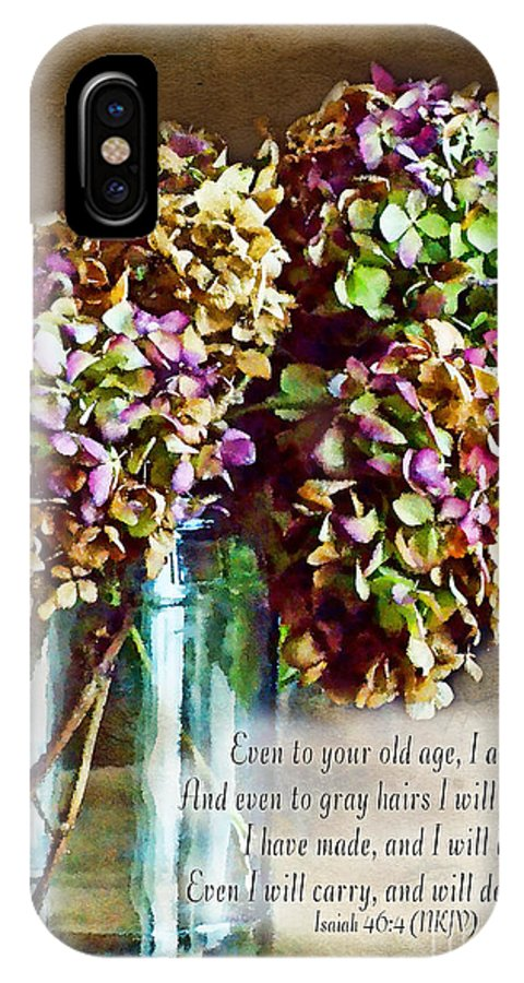 Nature IPhone X Case featuring the photograph Autumn Hydrangeas Photoart With Verse by Debbie Portwood