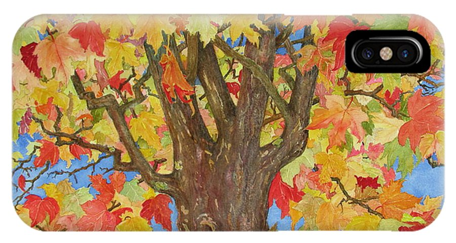 Leaves IPhone X Case featuring the painting Autumn Leaves 1 by Mary Ellen Mueller Legault