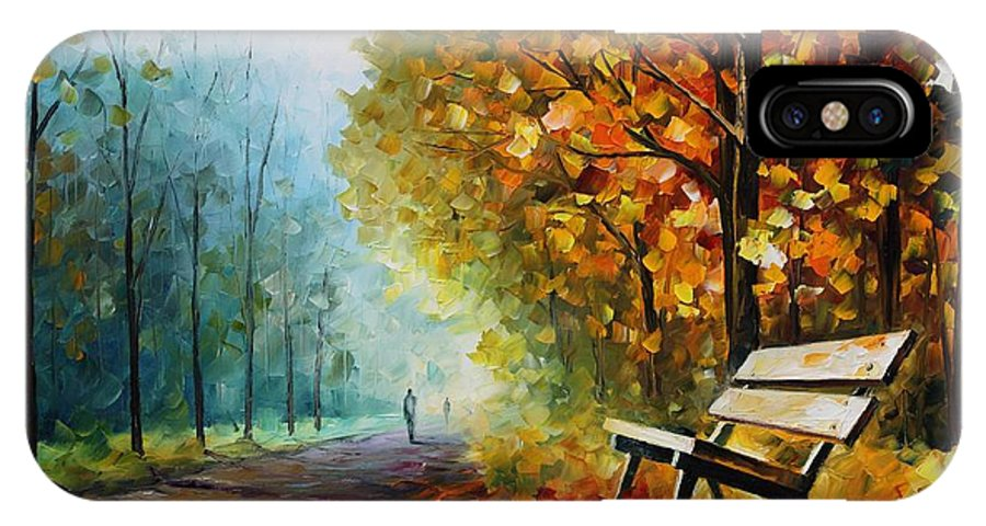 Leonid Afremov IPhone X Case featuring the painting Autumn Park - Palette Knife Oil Painting On Canvas By Leonid Afremov by Leonid Afremov