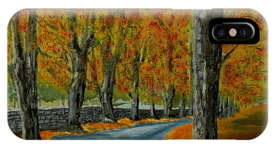 Autumn IPhone X Case featuring the painting Autumn Pathway by Anthony Dunphy