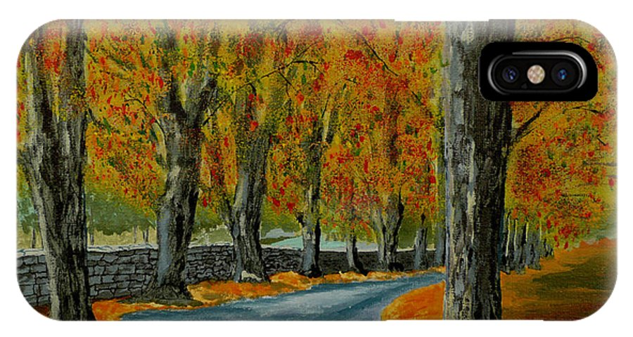 Autumn IPhone X / XS Case featuring the painting Autumn Pathway by Anthony Dunphy