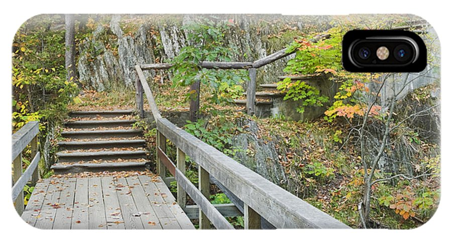 Maine IPhone X Case featuring the photograph Autumn Steps Near Smalls Falls In Maine by Keith Webber Jr