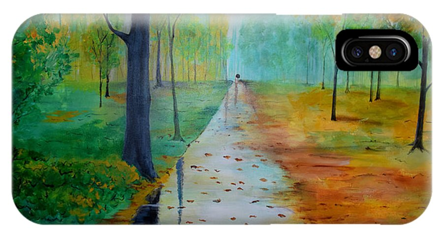 Park IPhone X Case featuring the painting Autumn Stroll by Gary Smith