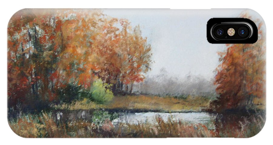Autumn Landscape Focusing On The Warm Golds And A Touch Of Green. IPhone X Case featuring the painting Autumn Study 1 by Paula Wild