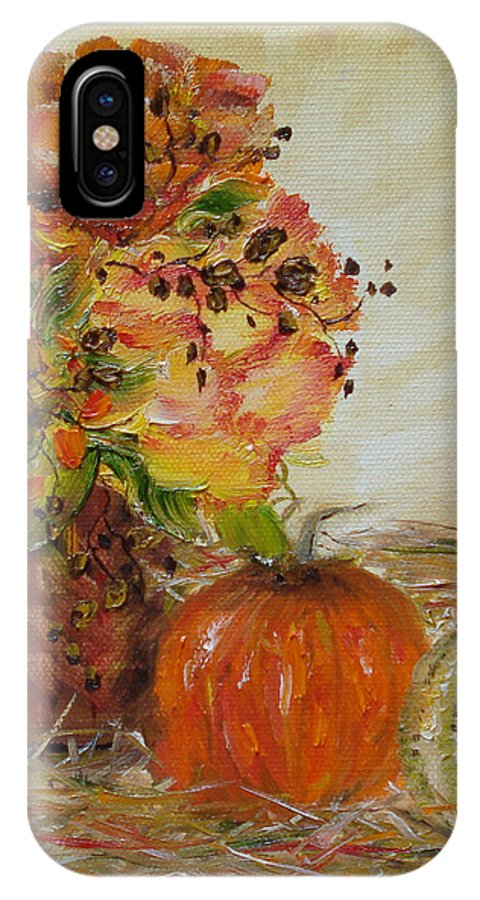 Autumn IPhone X Case featuring the painting Autumn Sunrise by Judith Rhue