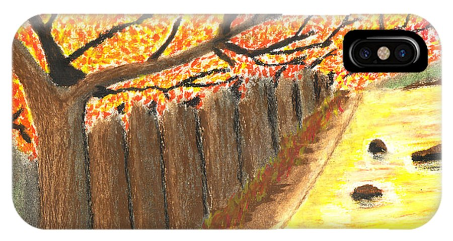 Landscape IPhone X Case featuring the painting Autumn Trees by Neosh