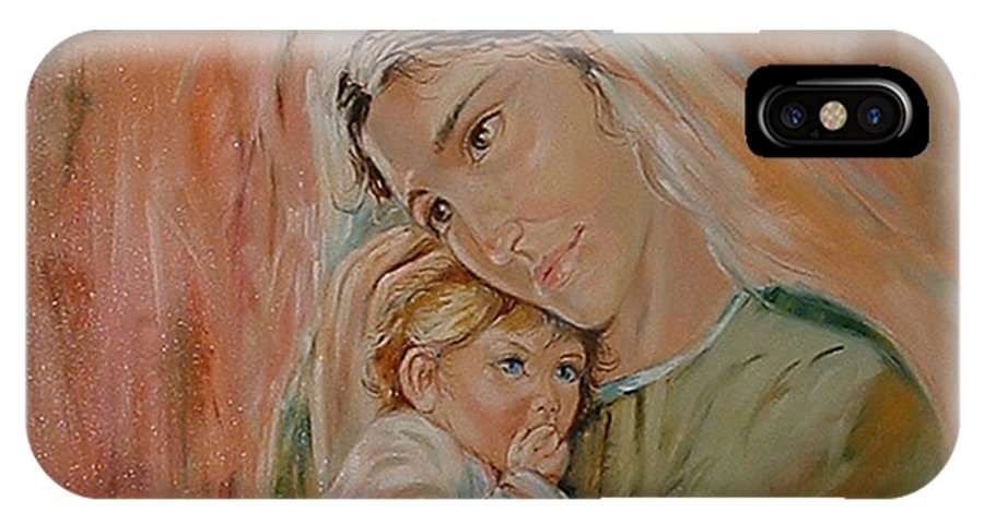 Classic Art IPhone X Case featuring the painting Ave Maria by Silvana Abel