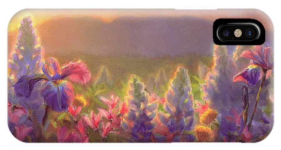Spring IPhone X Case featuring the painting Awakening - Mt Susitna Spring - Sleeping Lady by Karen Whitworth