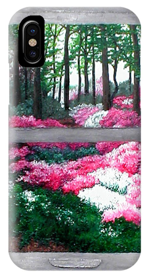 Window IPhone X Case featuring the painting Azalea Bowl Overlook Gardens by Beth Parrish