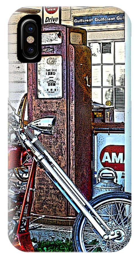 Chopper; Motorcycle; Bike; Motorcycle Art; Chopper Art; Bike Art; Vintage Look Art; Gas Pump; Custom Chopper IPhone X Case featuring the photograph Aztec And The Gas Pump by Lesa Fine