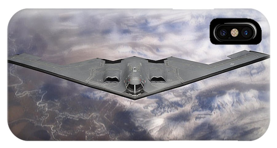 B-2 Stealth Bomber IPhone X Case featuring the photograph B-2 Stealth Bomber by Robert Mollett