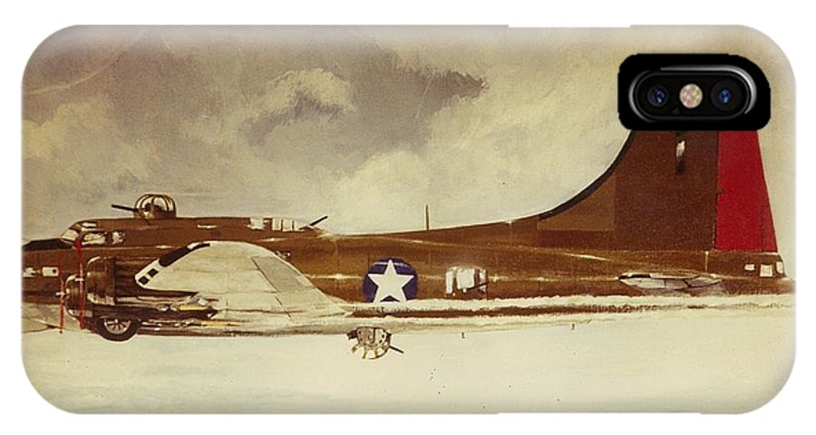 Aircraft Art IPhone X / XS Case featuring the painting B29 Bomber by Richard La Motte