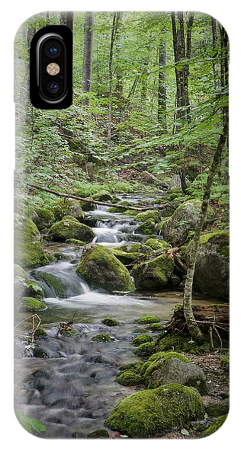 Brook Stream Forest Maine Baxter Katahdin Green Woods Thick Moss IPhone X Case featuring the photograph Babbling Baxter Brook by John Maciel