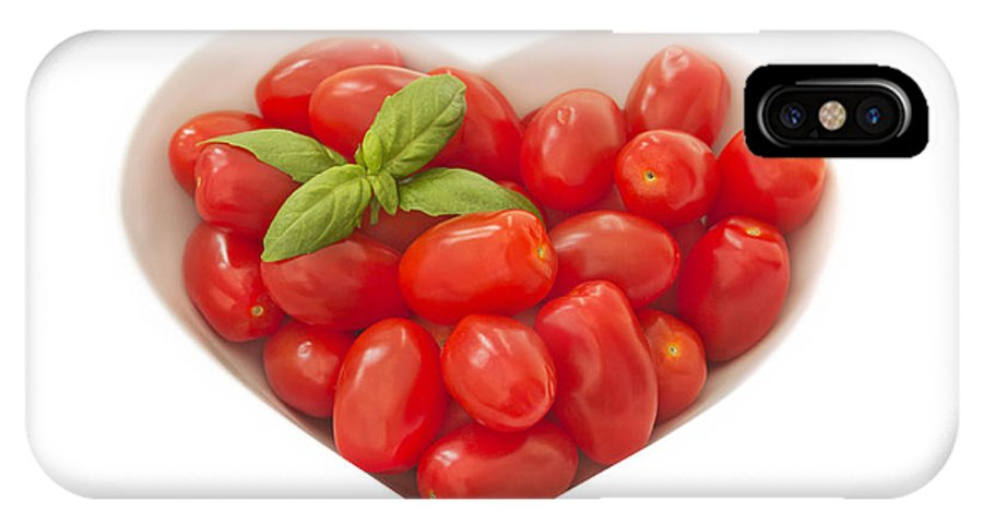 Tomatoes IPhone X Case featuring the photograph Baby Plum Tomates In A Heart Shaped Bowl by Dawn Gilfillan