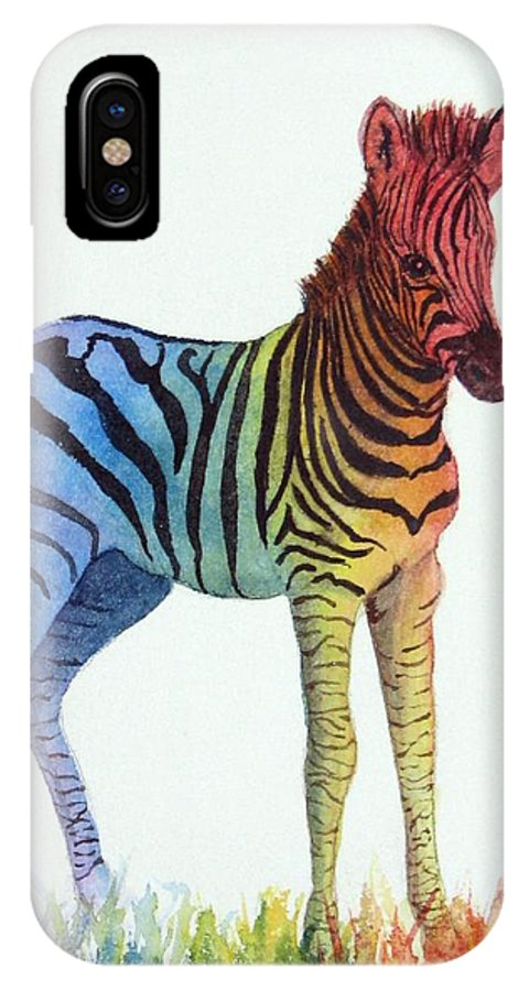 Zebra IPhone X Case featuring the painting Baby Rainbow Zebra by Sharon Farber