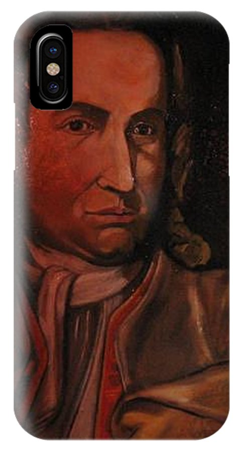 IPhone X Case featuring the painting Bach Portrait After Heavy Varnish by Jude Darrien
