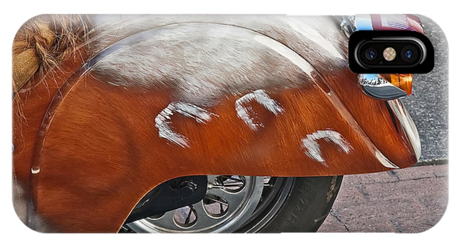 Motorcycle IPhone X Case featuring the photograph Back Of Indian Customized Motorcycle by Valerie Garner