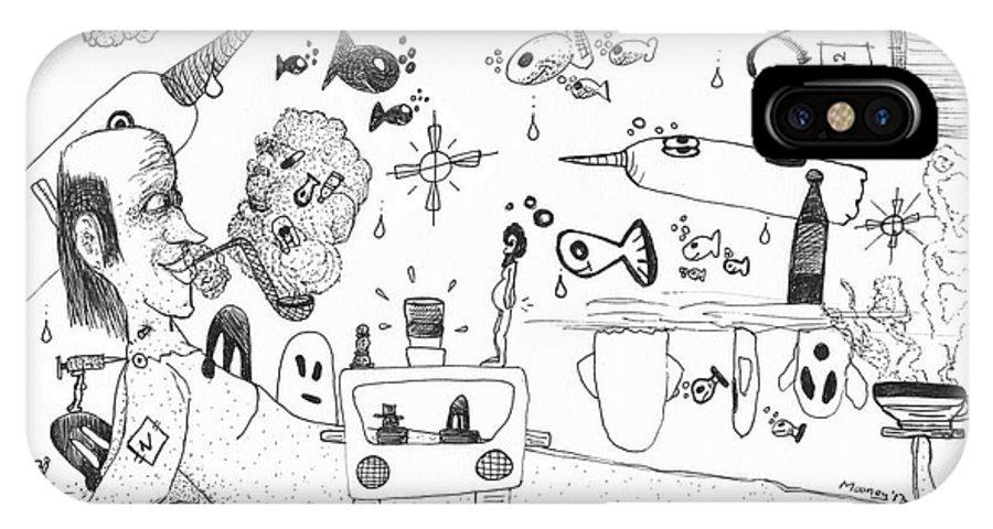 Back Rooms Of My Mind Door #25113 IPhone X Case featuring the drawing Back Rooms Of My Mind Door 25113 by Michael Mooney
