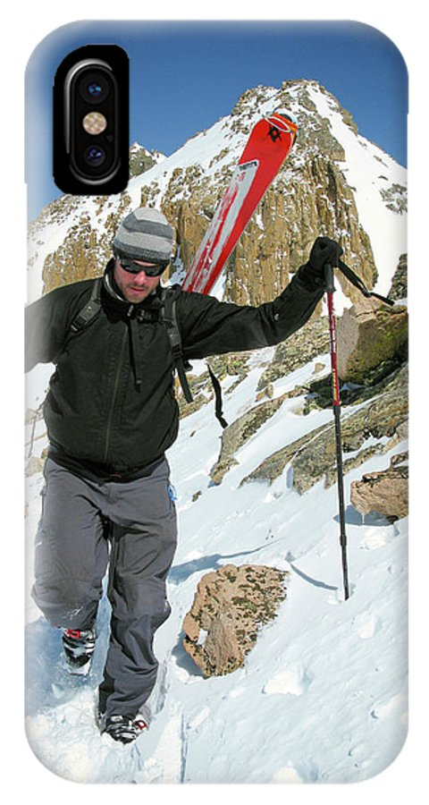 Adventure IPhone X Case featuring the photograph Backcountry Skiing, Citadel Peak, Co by Randall Levensaler
