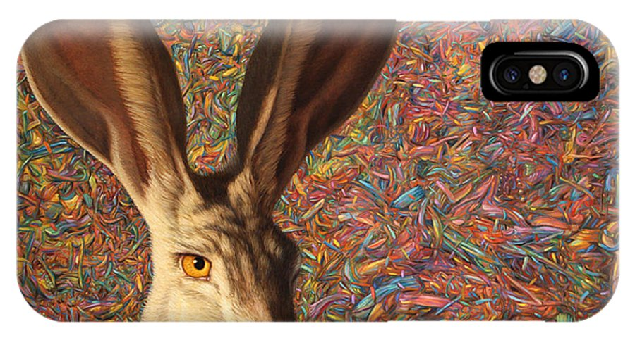 Rabbit IPhone X Case featuring the painting Background Noise by James W Johnson
