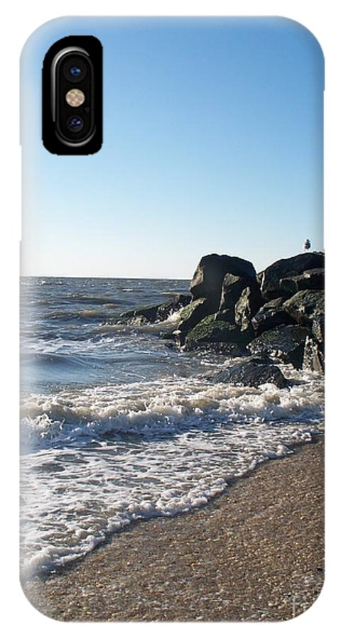 Backwash IPhone X Case featuring the painting Backwash On Sunset Beach Cape May by Eric Schiabor