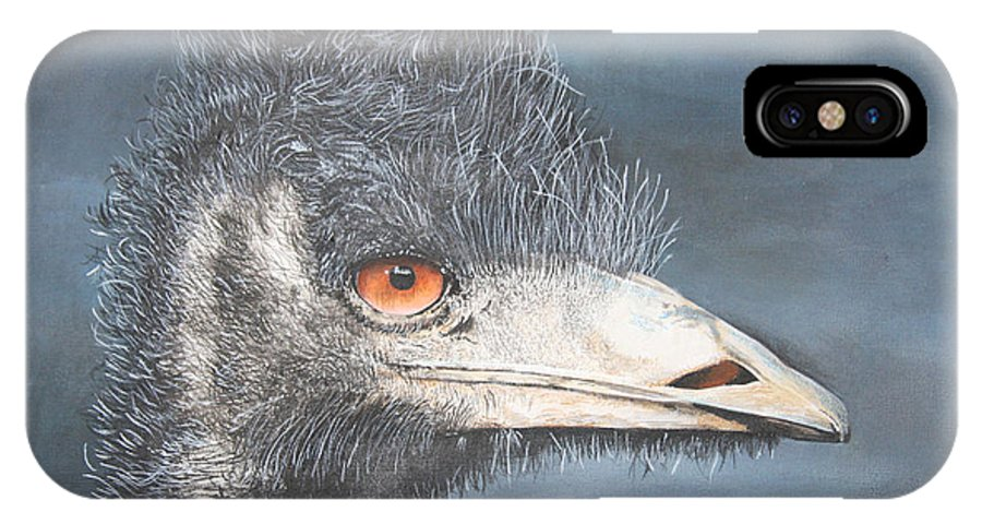 Emu Portrait IPhone X Case featuring the painting Bad Hair Day by John Hebb