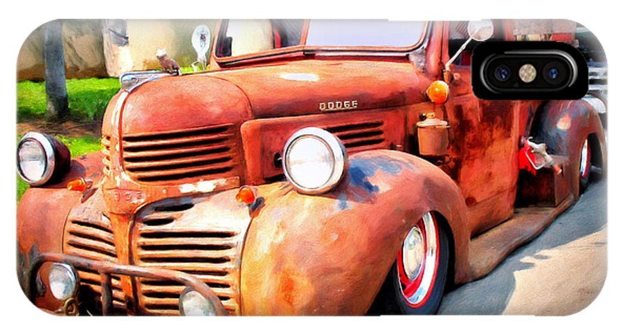 Old Truck IPhone X Case featuring the painting Bagged Out Dodge by Michael Pickett