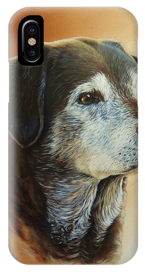 Labrador IPhone X Case featuring the painting Bailey by Julian Wheat