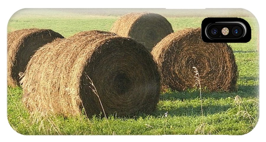 Hay IPhone X / XS Case featuring the photograph Bails Of Hay by Steven Woodard