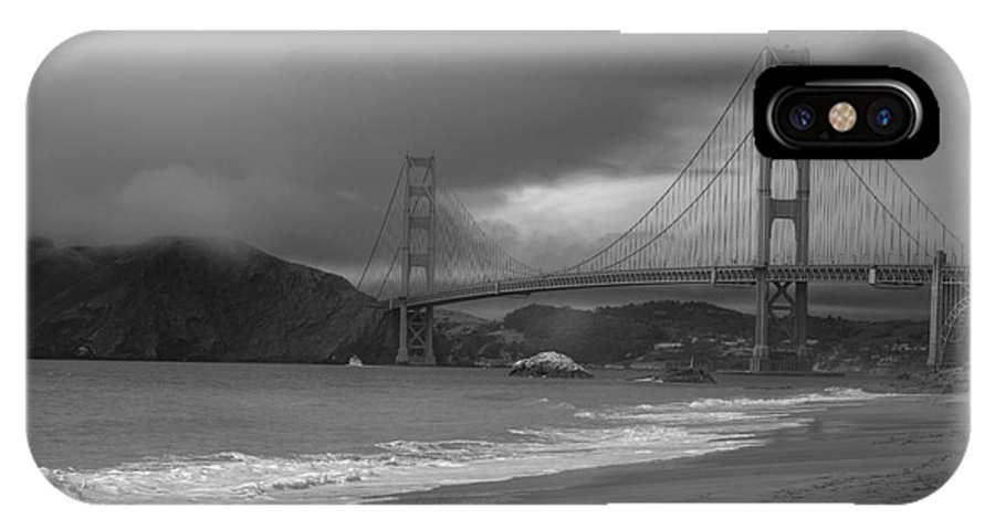 Black And White IPhone X Case featuring the photograph Baker Beach View by David Bearden