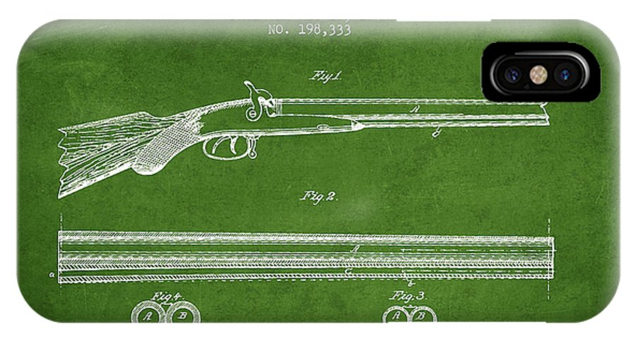 Pistol Patent IPhone X / XS Case featuring the digital art Baker Gun Barrel Patent Drawing From 1877- Green by Aged Pixel