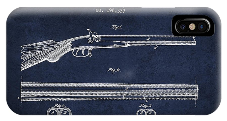 Pistol Patent IPhone X / XS Case featuring the digital art Baker Gun Barrel Patent Drawing From 1877- Navy Blue by Aged Pixel