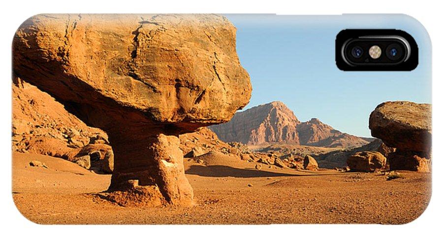 Arizona IPhone X Case featuring the photograph Balanced Rock Below Vermilion Cliffs by Gary Whitton