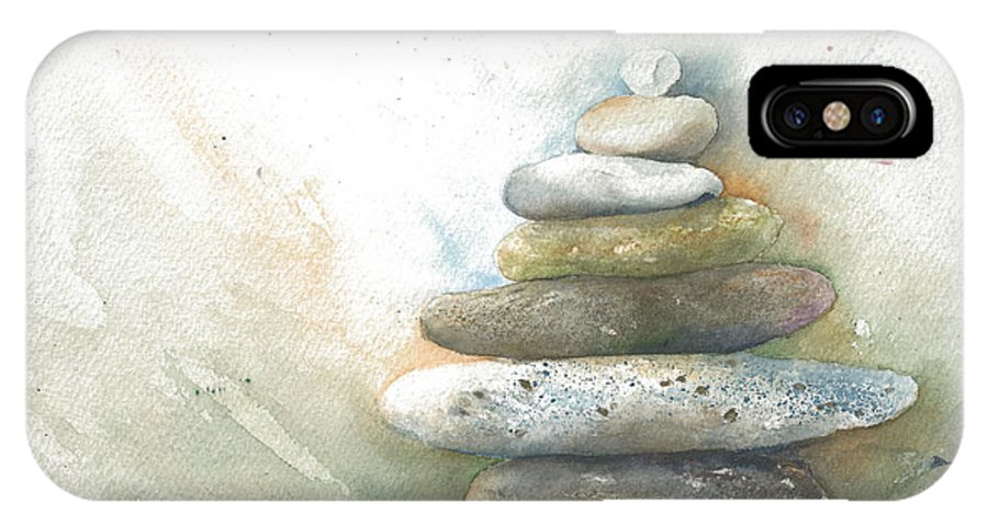 Stones IPhone X Case featuring the painting Balancing Act by Maureen Moore