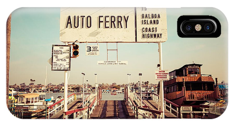 1950s IPhone X Case featuring the photograph Balboa Island Ferry Newport Beach Vintage Picture by Paul Velgos