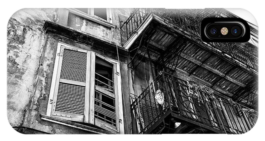 Balcony And Windows IPhone X Case featuring the photograph Balcony And Windows Mono by John Rizzuto