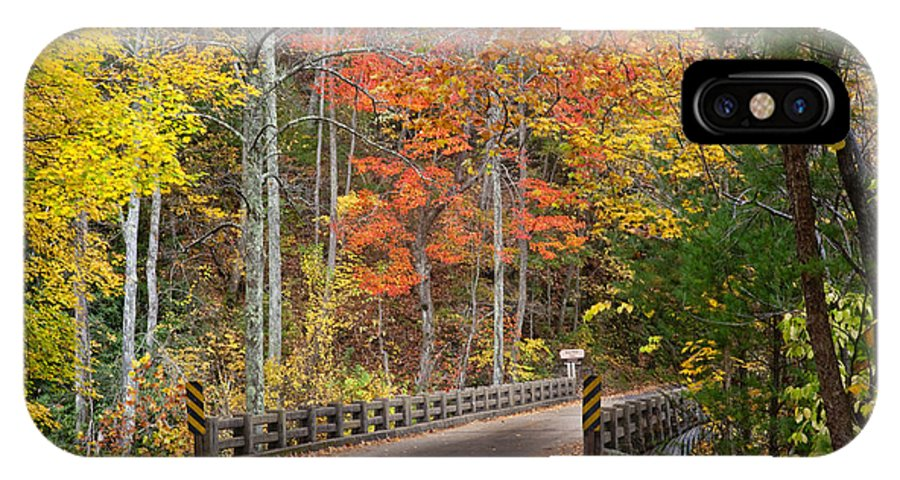 Fall Foliage IPhone X Case featuring the photograph Bald River Falls Bridge by Robert Camp