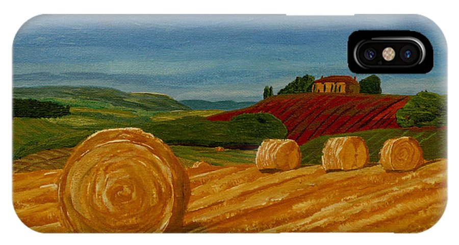 Hay IPhone X Case featuring the painting Field Of Golden Hay by Anthony Dunphy