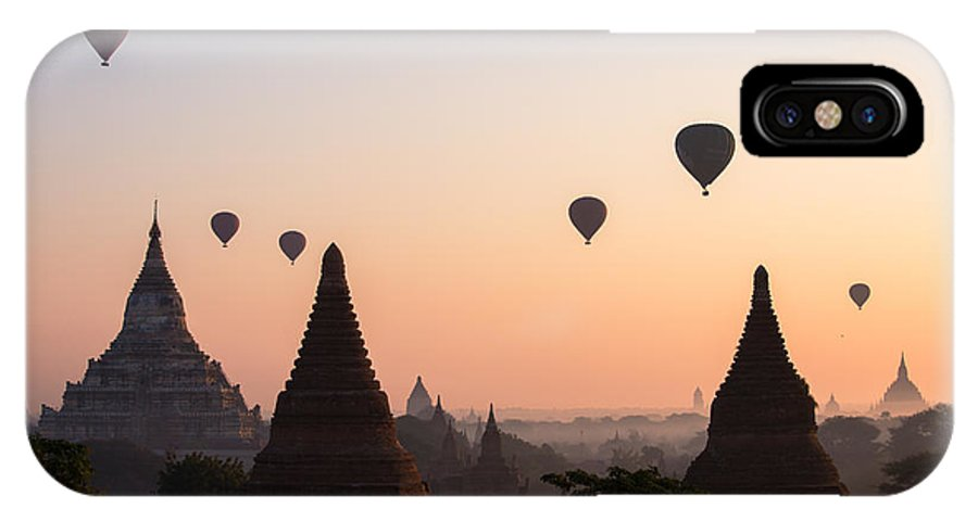 Dawn IPhone X Case featuring the photograph Ballons Over The Temples Of Bagan At Sunrise - Myanmar by Matteo Colombo