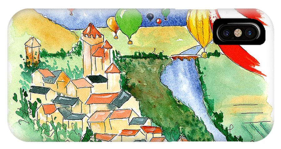 Illustrations IPhone X Case featuring the mixed media Ballooning In France 2 by Leah Wiedemer